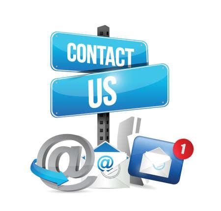 contact met ons op communicatie pictogrammen illustratie ontwerp op een witte achtergrond