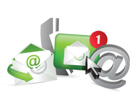 green contact us icons graphic concept illustration design over a white background
