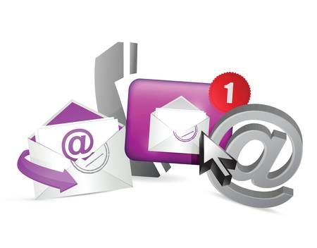 purple contact us icons graphic concept illustration design over a white background