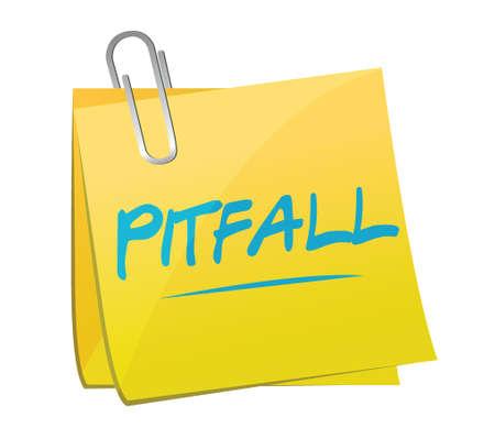 pitfall: pitfall memo post illustration design over a white background