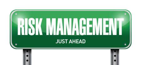risk management street sign illustration design over a white background Vector