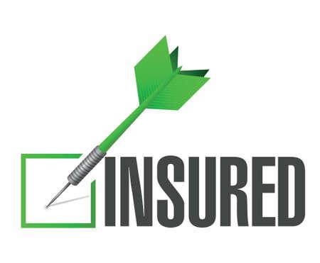 insured: insured dart check mark illustration design over a white background Illustration