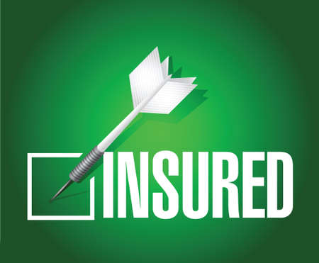 peril: insured dart check mark illustration design over a green background
