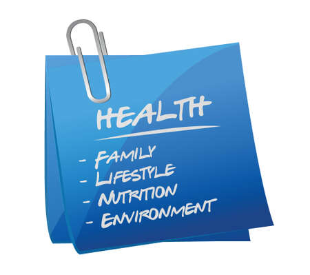 healthier: health key essentials memo post illustration design over a white background