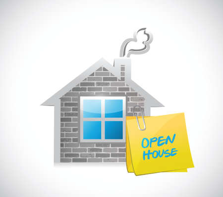 home buyer: open house sign on a residence. illustration design over a white background