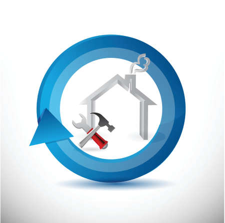 house reconstruction cycle symbol illustration design over a white background