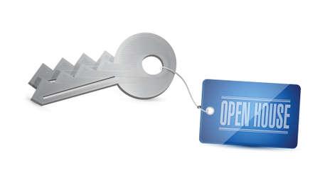 open huis sleutel tag illustratie ontwerp op een witte achtergrond Stock Illustratie