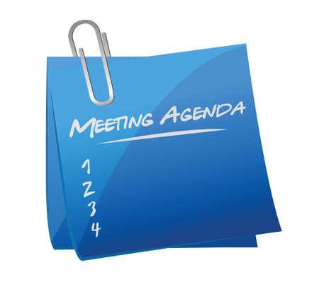 meeting agenda memo post illustration design over a white background Vectores