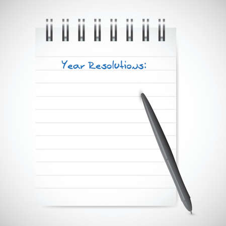 brighter: year resolution notepad list illustration design over a white background