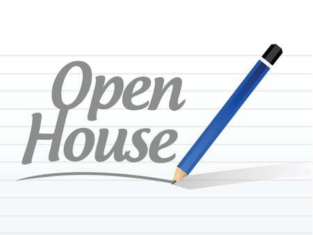 open huis bericht teken illustratie ontwerp op een witte achtergrond Stock Illustratie