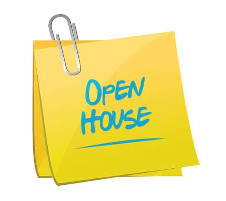 open huis memo bericht illustratie ontwerp op een witte achtergrond