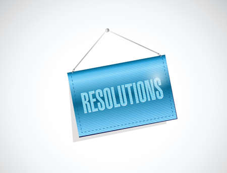 brighter: resolutions hanging banner illustration design over a white background