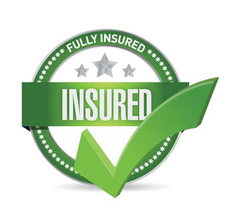 insured check mark seal illustration design over a white background Illustration