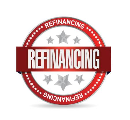 refinancing: refinancing red seal illustration design over a white background Illustration