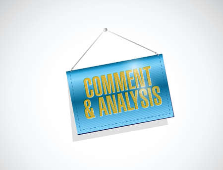 reassessment: comment and analysis hanging banner sign illustration design over a white background