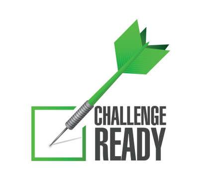 determined: challenge ready dart check mark illustration design over a white background