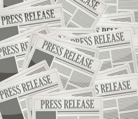 灰色の背景上のプレス リリース新聞イラスト デザイン  イラスト・ベクター素材