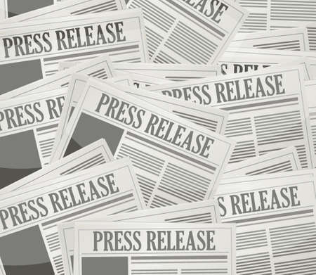 press release newspaper illustration design over a grey background