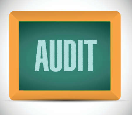 deduction: audit board sign illustration design over a white background