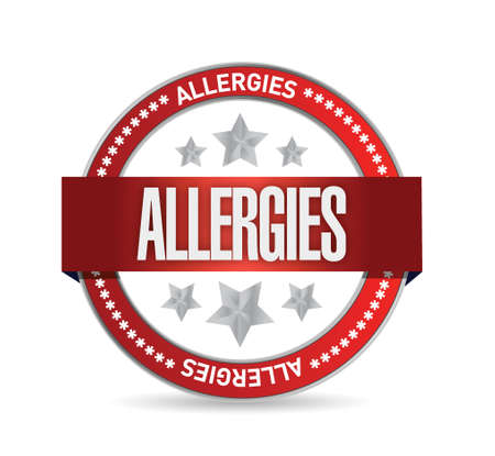 allergic reactions: allergies seal illustration design over a white background