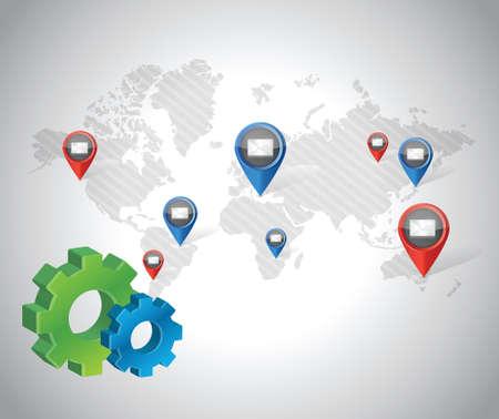 gear media communication network illustration design over a blue background