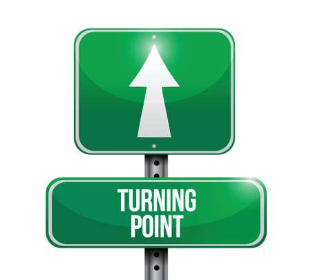 tornitura: girando punto cartello stradale design illustrazione su uno sfondo bianco