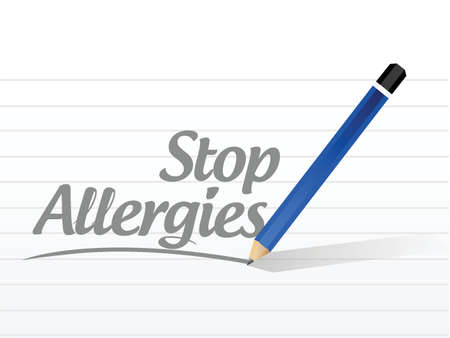 allergenic: stop allergies message sign illustration design over a white background