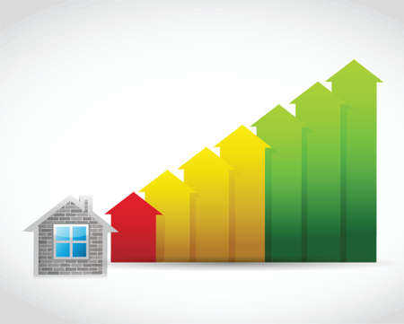 increase sales: house prices up illustration design over a white background