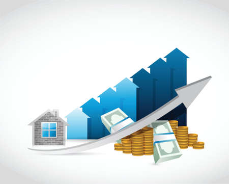 house prices: house prices up and money illustration design over a white background Illustration