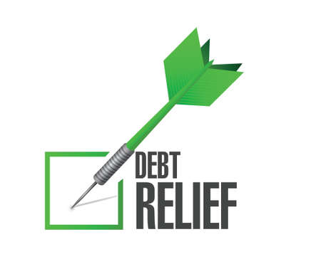 brighter: debt relief check mark illustration design over a white background