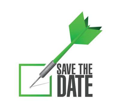 save the date dart check mark illustration design over a white background Vettoriali