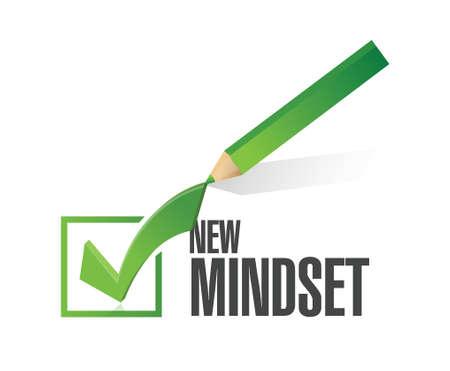 mindset: new mindset check mark pencil illustration design over a white background