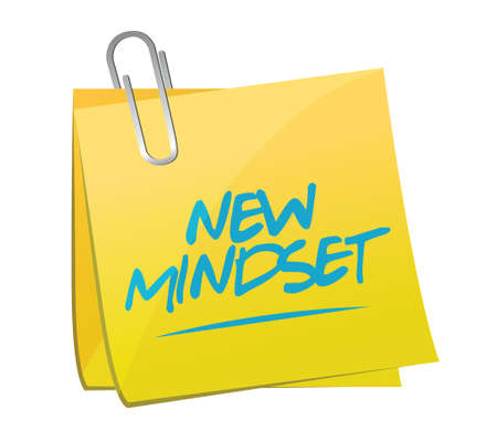 self improvement: new mindset memo post illustration design over a white background