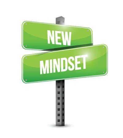 new mindset street sign illustration design over a white background
