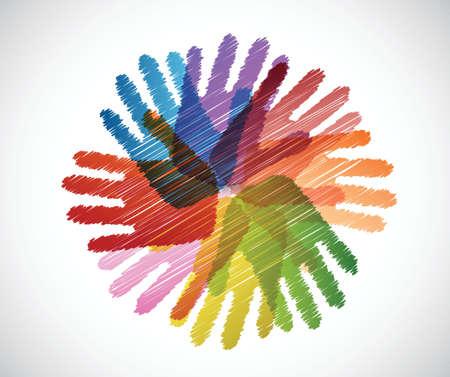 白色の背景上の多様性手落書きイラスト デザイン