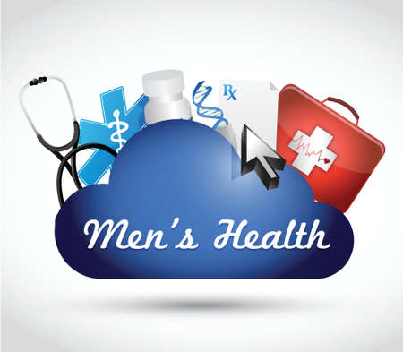 cancer symbol: mens health cloud computing illustration design over a white background