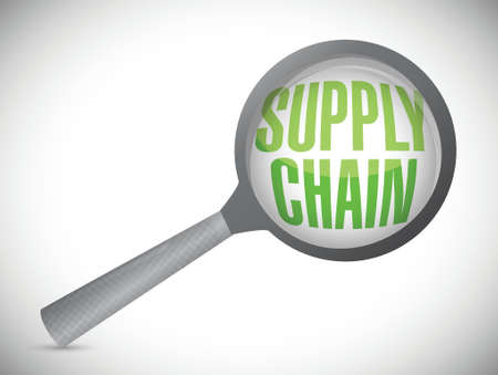 supply chain under review magnify glass illustration design over a white background