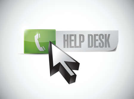 help desk button and click illustration design over a white background  イラスト・ベクター素材