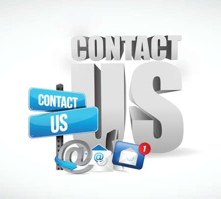 email us: Contattaci Email concept design illustrazione su uno sfondo bianco