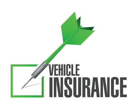 family policy: vehicle insurance dart check mark illustration design over a white background
