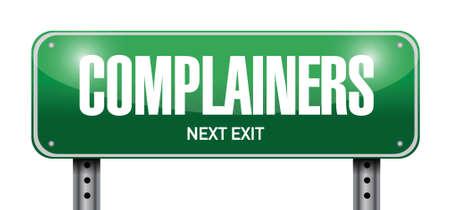 pessimist: complainers street sign illustration design over a white background