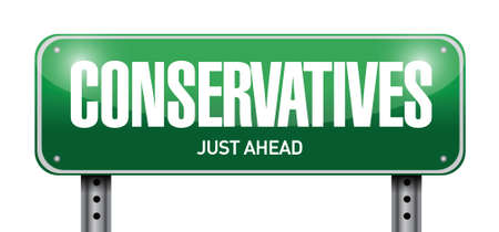 bigoted: conservatives street sign illustration design over a white background Illustration