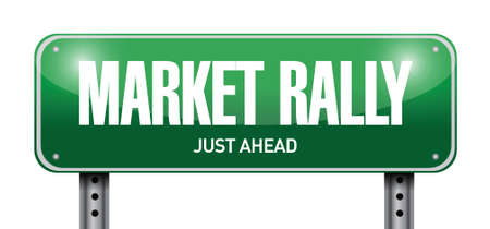road to recovery: market rally street sign illustration design over a white background