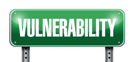 risk ahead: vulnerability street sign illustration design over a white background