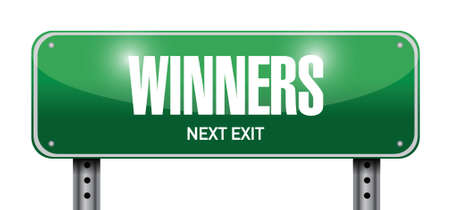 contestant: winners street sign illustration design over a white background