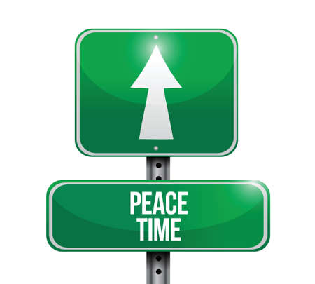 treaty: peace time street sign illustration design over a white background Illustration