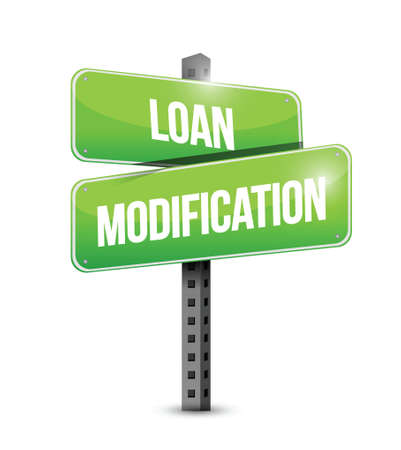 foreclosure: loan modification street sign illustration design over a white background