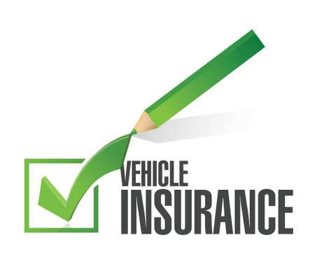 白色の背景上の車両保険鉛筆チェック マーク イラスト デザイン