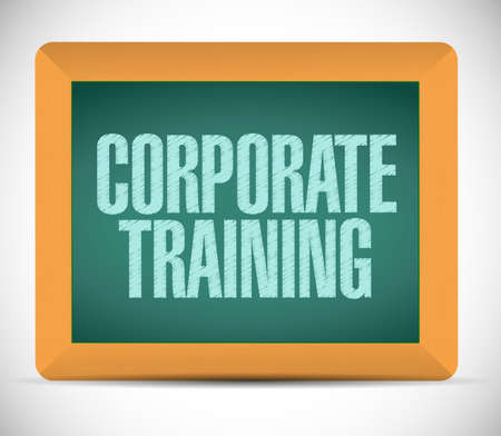 briefing: corporate training sign on a board. illustration design over a white background