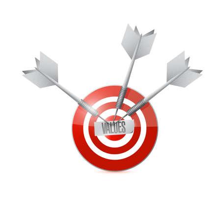 scruples: values target and dart illustration design over a white background